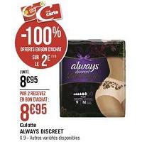 Culottes Discreet Boutique Always chez Géant Casino (04/12 – 08/12)