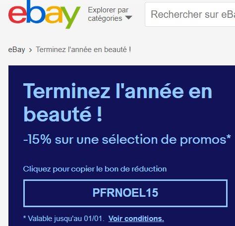 Ebay :  code de réduction de 15% sur une sélection