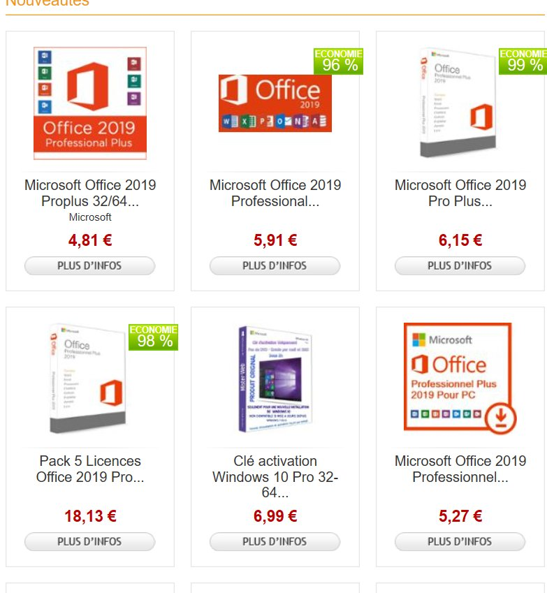 Licences Microsoft Office , Windows 10 pas chères entre 4-10€