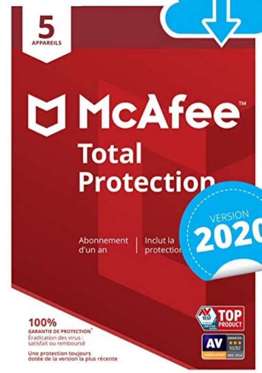 Antivirus McAfee Total Protection 5 appareils / 1 an pour 12.99€