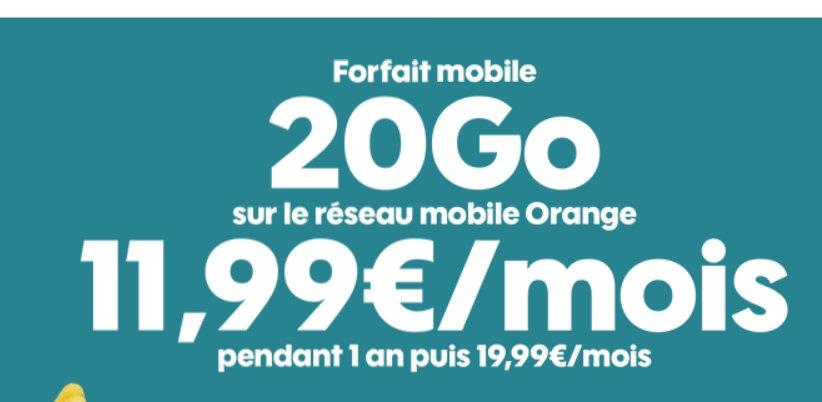 11.99€ par mois le Forfait Sosh Illimité 20Go, 14.99€ le 50Go