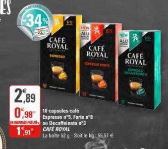 Café en Capsules Espresso Café Royal chez G20 (29/01 – 09/02)