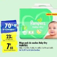 Couches Baby-Dry Pampers chez Carrefour (14/01 – 03/02)