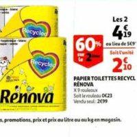 Papier Toilette Recyclé Renova chez Auchan (22/01 – 28/01)
