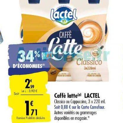 Boisson Caffè Latte Lactel chez Carrefour (07/01 – 13/01)