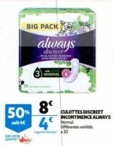 Serviettes Discreet Always chez Auchan (08/010 – 12/01)