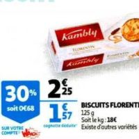 Biscuits Florentins Kambly chez Auchan (29/01 – 04/02)