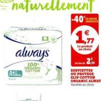 Serviettes Cotton Protection Always chez Magasins U (28/01 – 08/02)