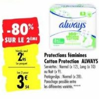 Serviettes Always Cotton Protection chez Carrefour (07/01 – 12/01)