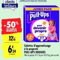 Culottes Pull-Ups Huggies chez Carrefour (14/01 – 03/02)