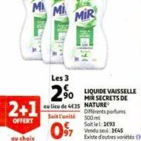 Liquide Vaisselle Mir chez Auchan (22/01 – 28/01)