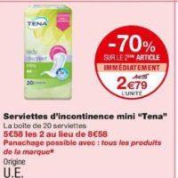 Serviettes Discreet Tena chez Monoprix (22/01 – 02/02)
