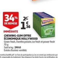 Chewing-gum Hollywood chez Auchan (15/01 – 21/01)