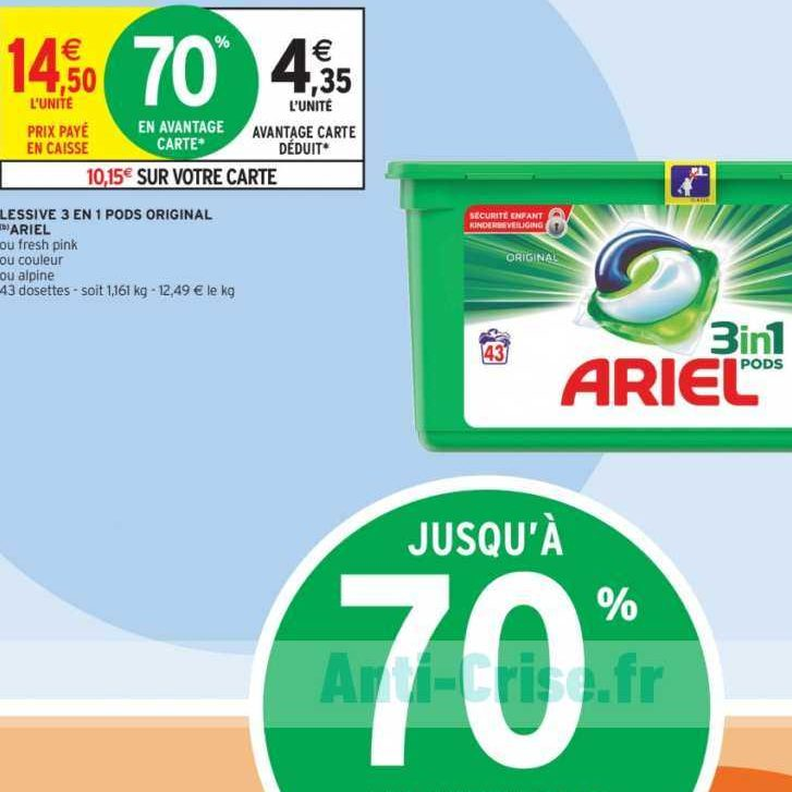 Lessive en Capsules Ariel chez Intermarché (14/01 – 19/01)
