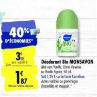 Déodorant Bio Monsavon chez Carrefour (28/01 – 03/02)