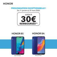 Offre de Remboursement Honor : Jusqu'à 30€ Remboursés sur Smartphone 8S ou 8A