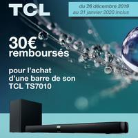 Offre de Remboursement TCL : 30€ Remboursés sur Barre de Son TS7010