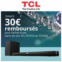 Offre de Remboursement TCL : 30€ Remboursés sur Barre de Son TS7010 et TS7000