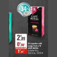 Café en Capsules Lungo 8 Café Royal chez G20 (29/01 – 09/02)