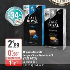 Café en Capsules Lungo 4 Café Royal chez G20 (29/01 – 09/02)