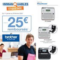 Offre de Remboursement Brother : Jusqu'à 25€ Remboursés sur Etiqueteuse + Consommable