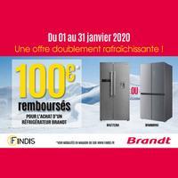 Offre de Remboursement Brandt : 100€ Remboursés sur Réfrigérateur
