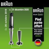 Bon Plan Braun : 1 Mixeur Plongeant Acheté = 1 Pied Purée Offert