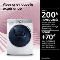 Offre de Remboursement Samsung : Jusqu'à 270€ Remboursés sur Lave-Linge et/ou Sèche-Linge