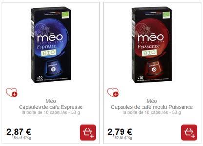 Capsules de Café Méo chez Intermarché (18/01 – 19/01)