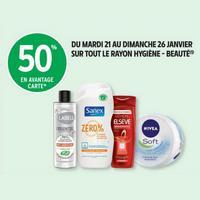 Intermarché : 50% en remise Fidélité sur le rayon Hygiène et Beauté (21/01 – 26/01)