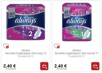 Serviettes Always Platinum chez Intermarché (21/01 – 26/01)