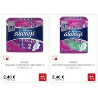 Serviettes Always Platinum chez Intermarché (21/01 – 26/01)