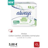 Serviettes Always Cotton Protection chez Intermarché (21/01 – 26/01)