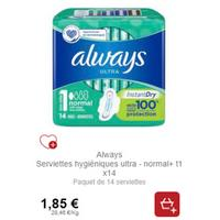 Serviettes Always Ultra chez Intermarché (21/01 – 26/01)