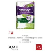 Serviettes Always Discreet chez Intermarché (21/01 – 26/01)