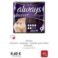 Culottes Always Discreet Boutique chez Intermarché (21/01 – 26/01)