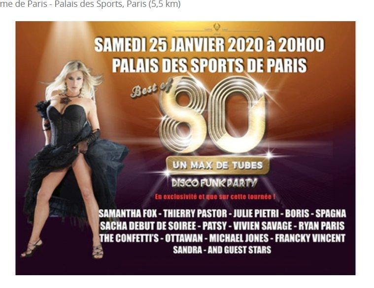 Best of 80 au Palais des Sports 25/01 Paris : 30€ au lieu de 50€ la place
