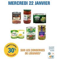 Leclerc : 30% en Ticket Leclerc sur les Conserves de Légumes le 22/01
