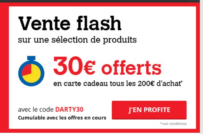 Darty : 30€ en cartes cadeaux tous les 200€ d'achats