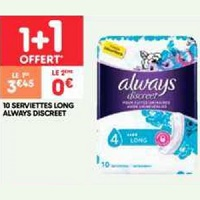 Serviettes Discreet Always chez Leader Price (28/01 – 09/02)
