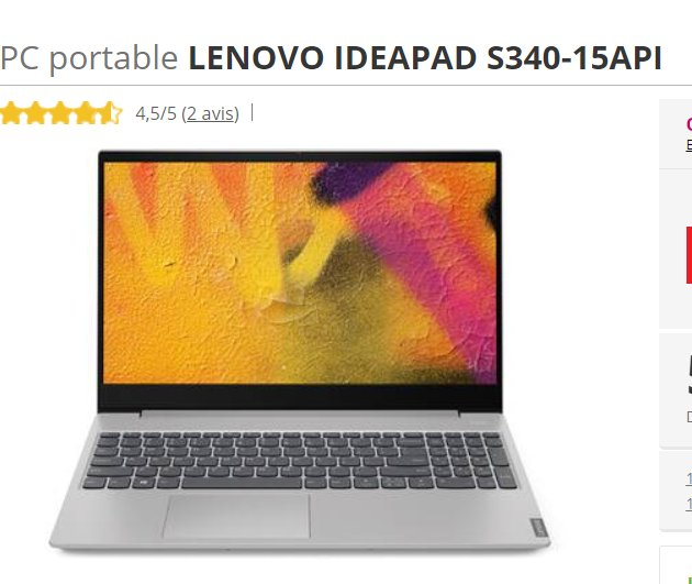 PC portable LENOVO IDEAPAD S340-15API  Ryzen 7 qui revient à 439€ ( voire meme 409)