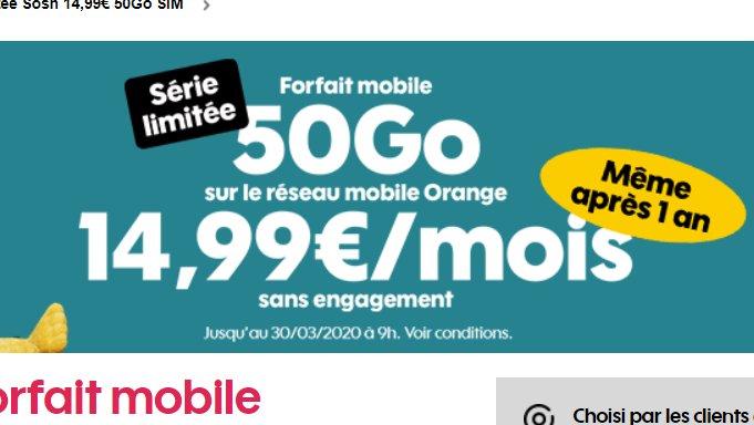 14.99€ par mois le Forfait Sosh Illimité 50Go en série limitée