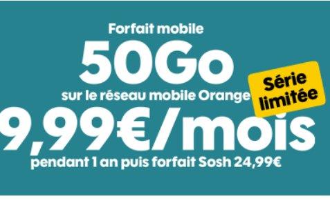 9.99€ par mois le Forfait Sosh Illimité 50Go en série limitée