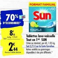 Tablettes pour Lave-Vaisselle Sun chez Carrefour (28/01 – 03/02)