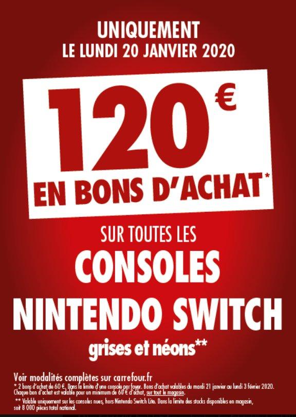 Consoles Switchs qui reviennent à 180€ chez Carrefour le 20 janvier