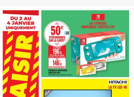 Console  Nintendo SWITCH LITE qui revient à 146€ du 2 au 4 janvier