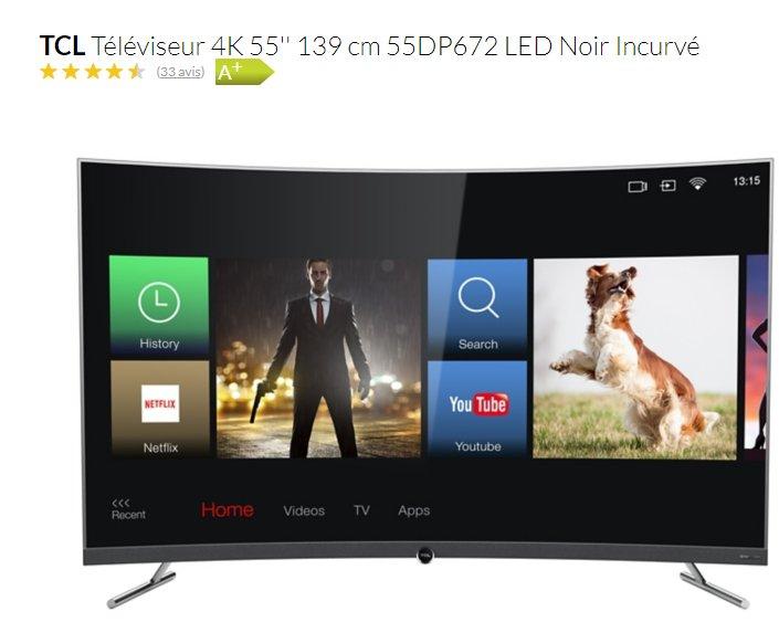 431€ la TV TCL 55 pouces incurvée 4K  55DP672