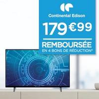 Géant Casino : TV LED 4K UHD Continental Edison 100% Remboursée en 4 Bons