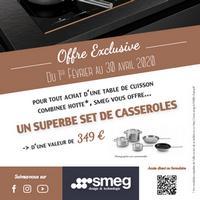 Bon Plan Smeg : 1 Combiné Cuisson acheté = 1 Set de Casseroles Offert