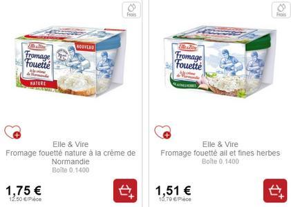 Fromage Fouetté Elle & Vire chez Intermarché (04/02 – 09/02)